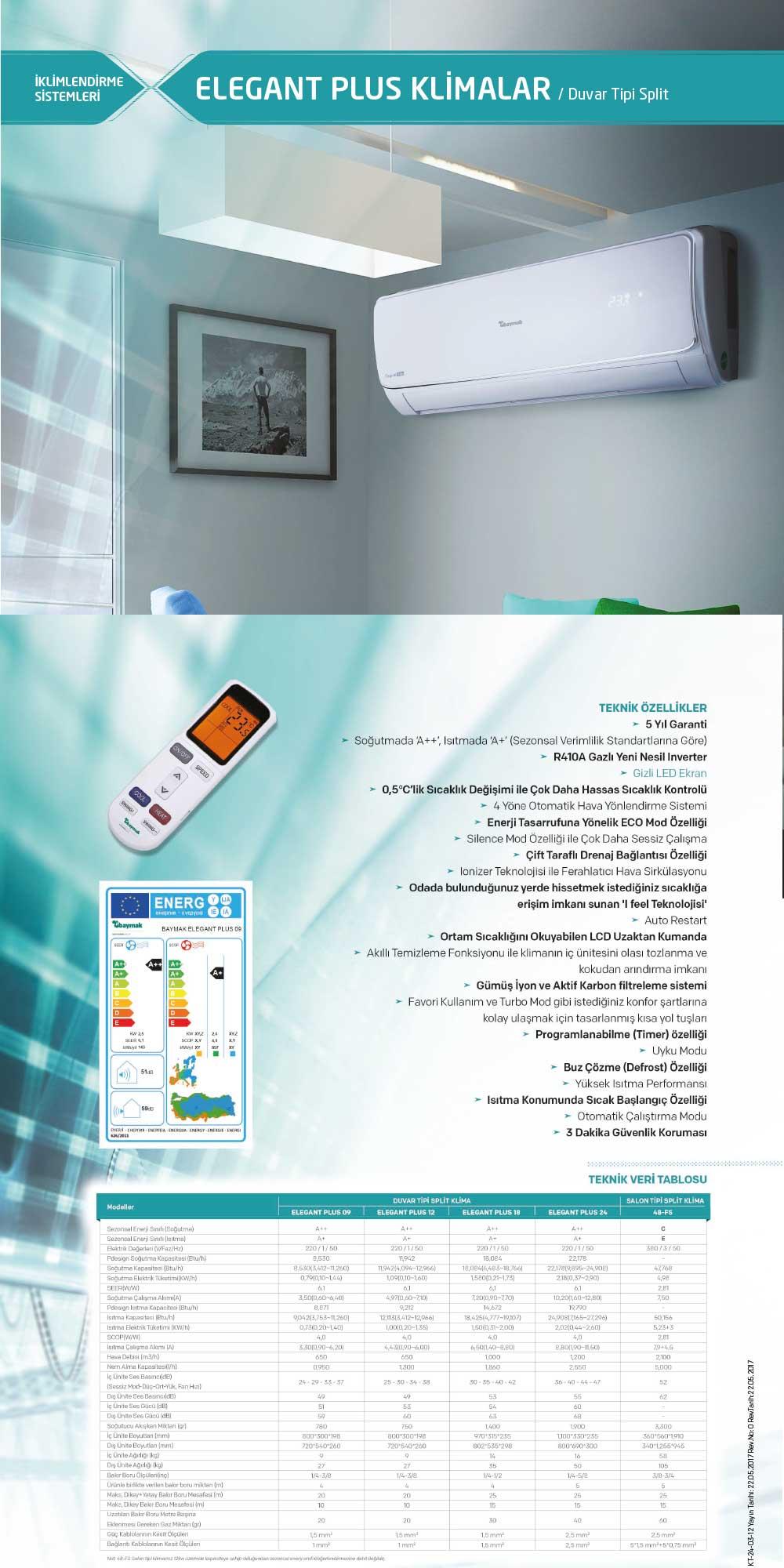 Baymak Elegant Plus 12 A++ Inverter Klima 12000 BTU